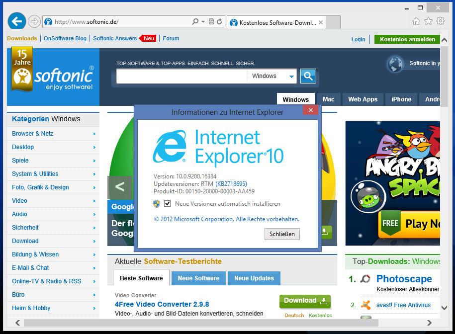 Internet Explorer 10 für Windows 7