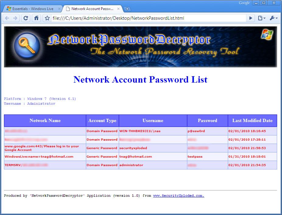 NetworkPasswordDecryptor