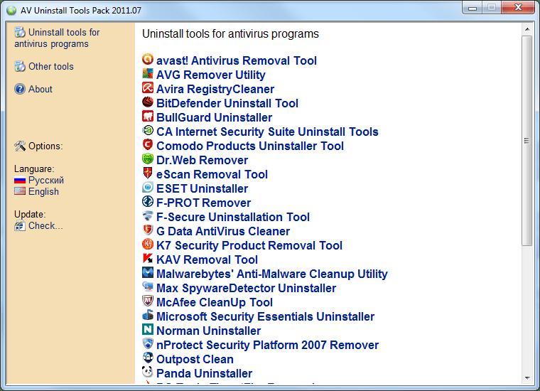 AV Uninstall Tools Pack