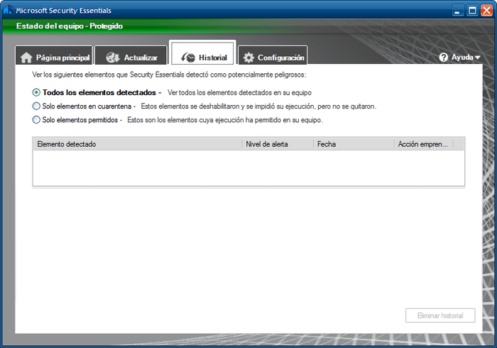 Microsoft Security Essentials para Windows XP