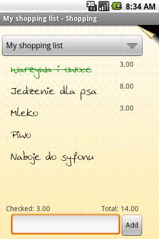 OI Shopping List