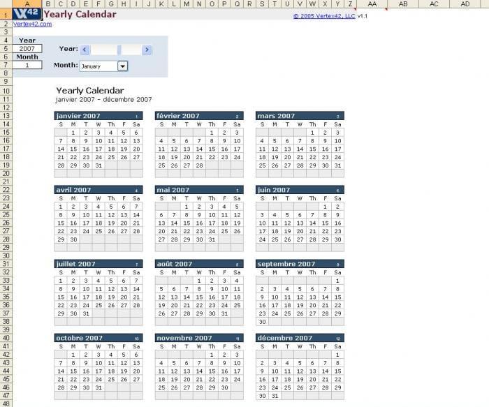 Plantilla de calendarios anuales en Excel