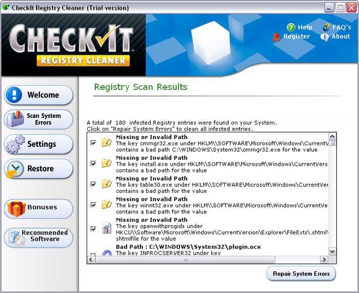 CheckIt Registry Cleaner