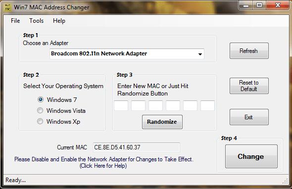 Win 7 MAC Address Changer