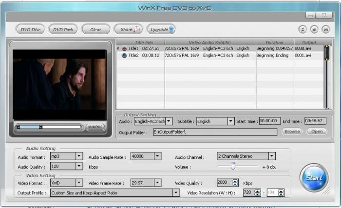 WinX Free DVD to XviD Ripper