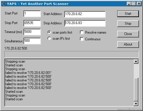 YAPS Yet Another Port Scanner