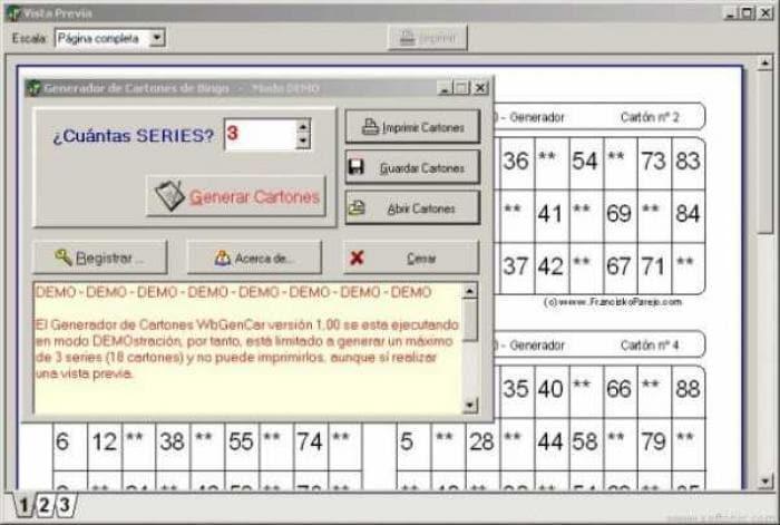 Generador Cartones Bingo