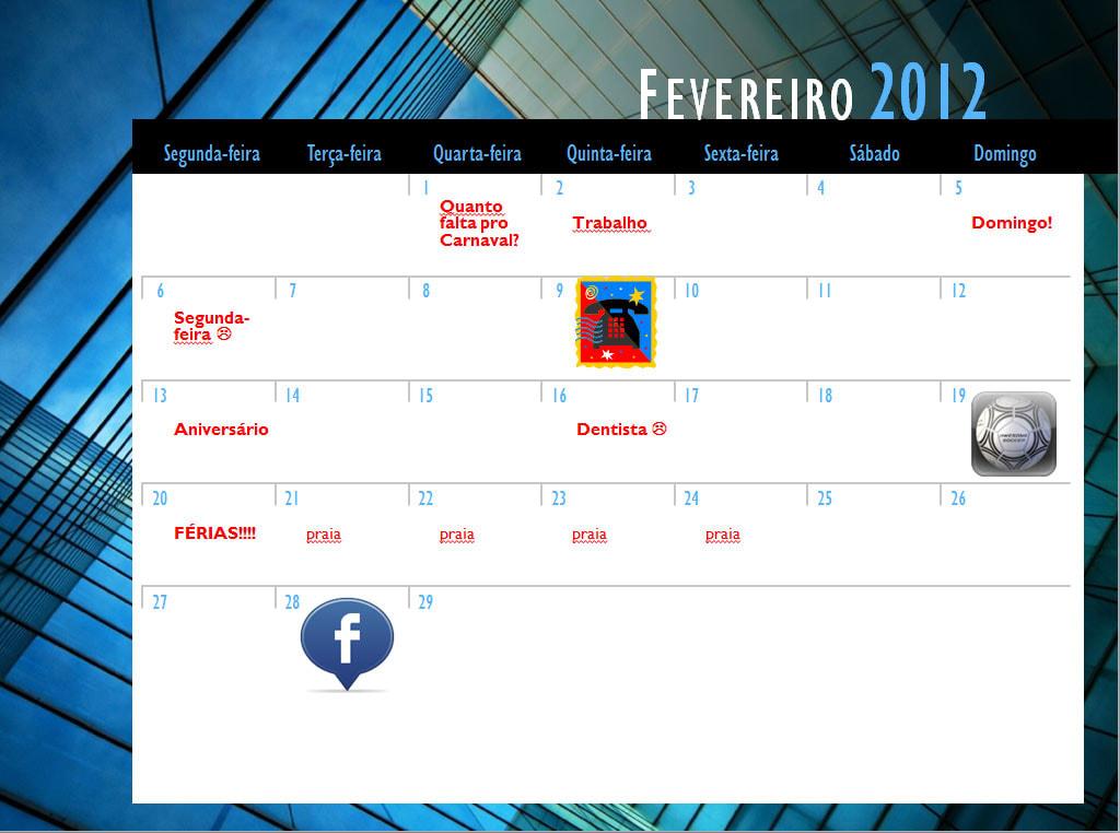 Calendário de 2012 Mensal