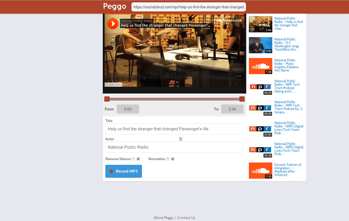 Peggo - Internet Video to MP3 recorder