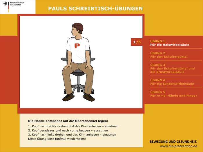 Bildschirmschoner Pauls Schreibtisch-Übungen