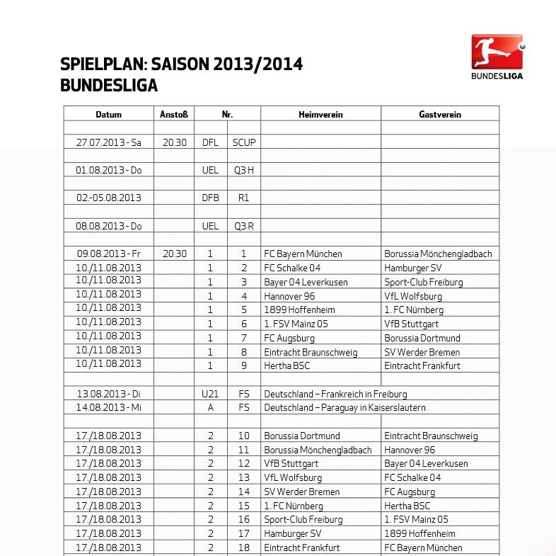 Bundesliga-Spielplan 2014/2015