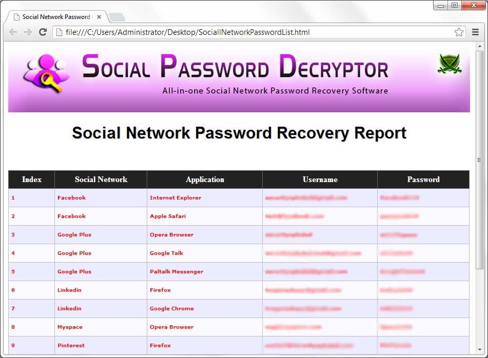 Social Password Decryptor