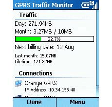 Smartphone GPRS Traffic Monitor