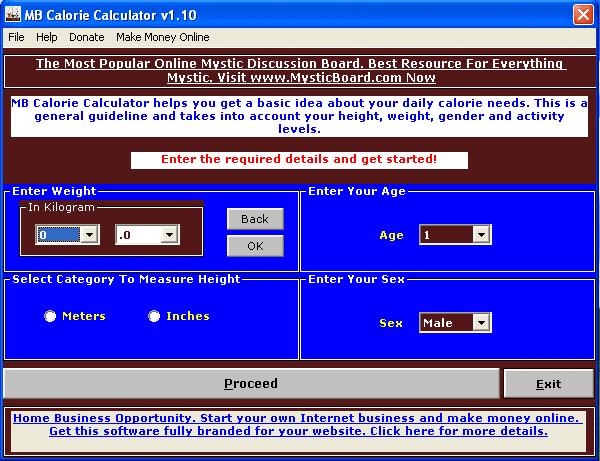 MB Calorie Calculator