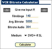 VCR Bitrate Calculator