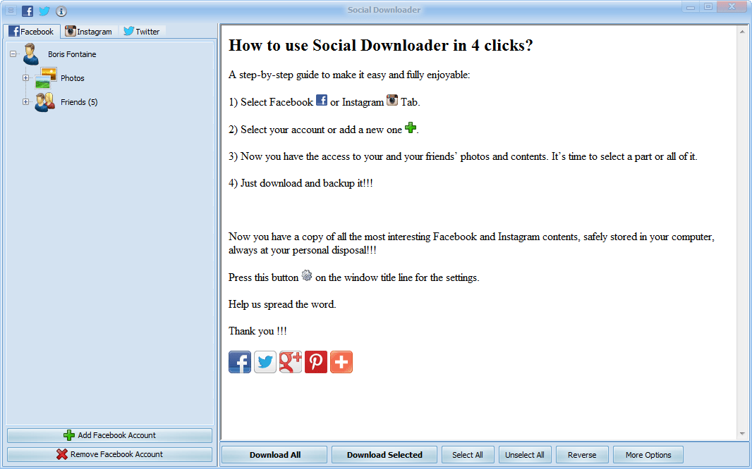 Social Downloader for Facebook, Instagram and Twitter
