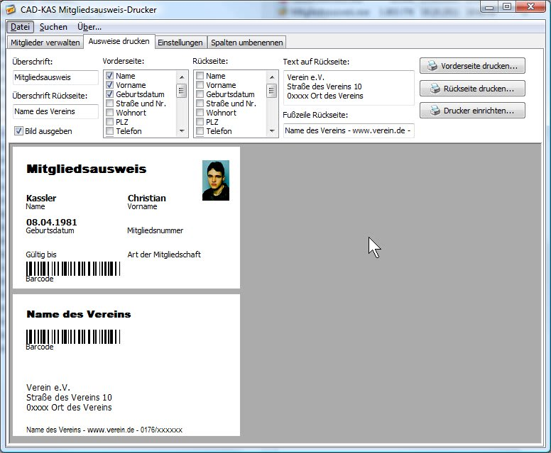 Mitgliedsausweis-Drucker