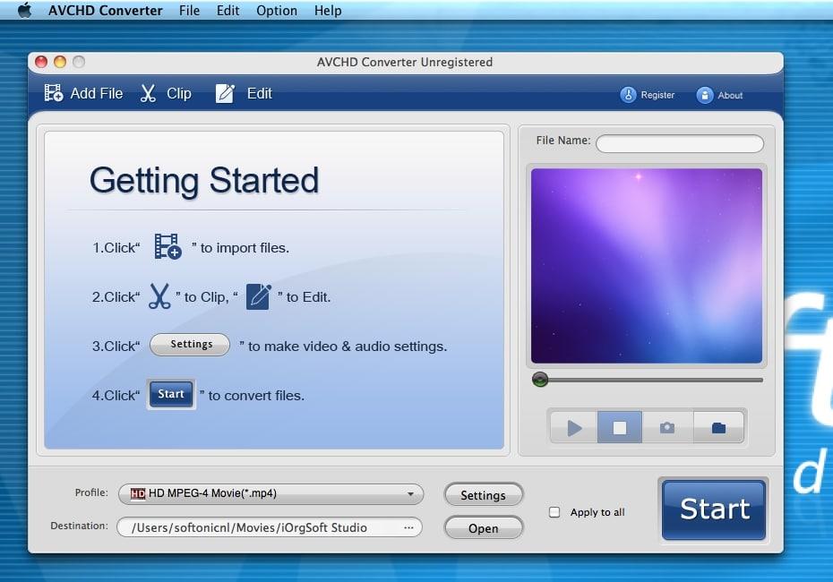 iOrgSoft AVCHD Converter for Mac