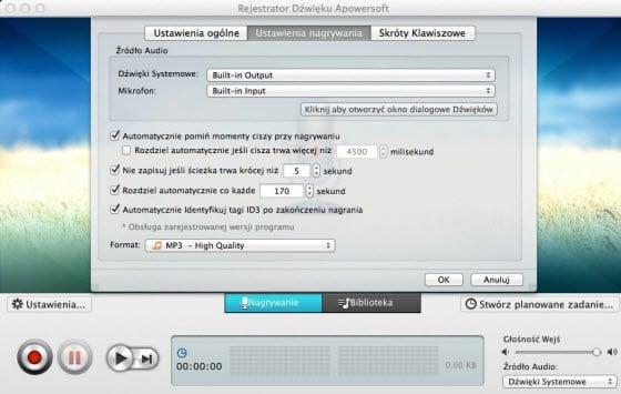 Rejestrator Dźwięku dla Mac Apowersoft
