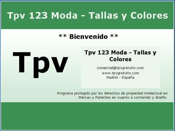 Tpv 123 Modas - Tallas y colores