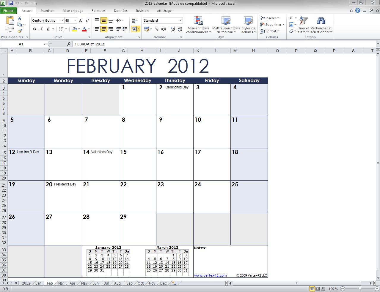 Modèle de Calendrier Mensuel Excel