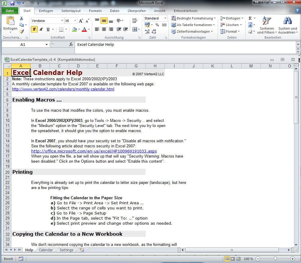 Excel Kalender Vorlage