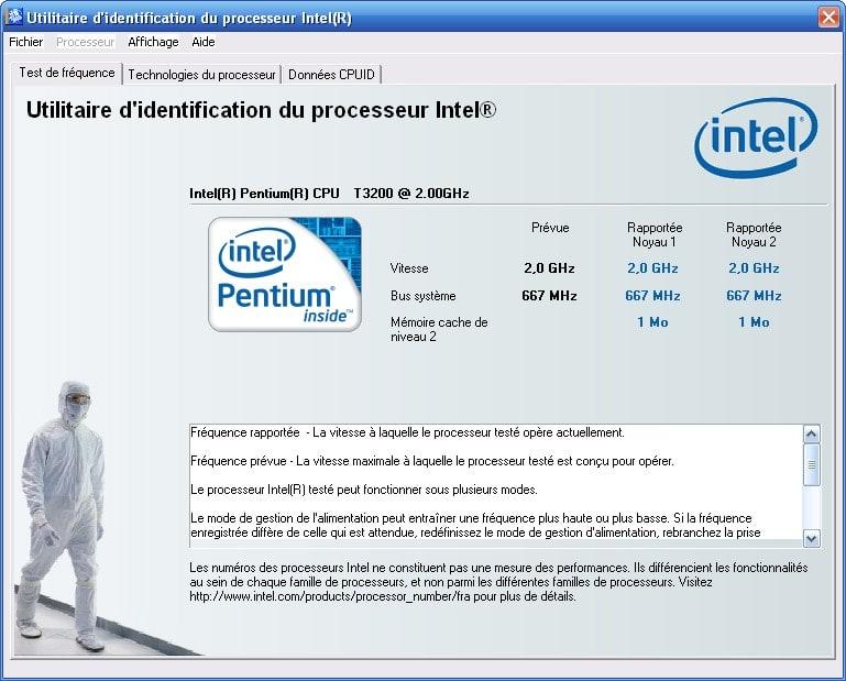 Utilitaire d'Identification du Processeur Intel
